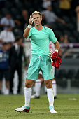 Joe Hart of England gestures at the final whistle during the UEFA EURO 2012 group D match between France and England at Donbass Arena on June 11 2012...