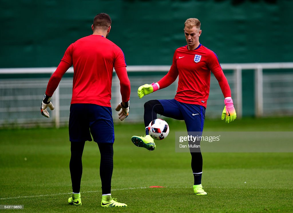 <a gi-track='captionPersonalityLinkClicked' href=/galleries/search?phrase=Joe+Hart&family=editorial&specificpeople=1295472 ng-click='$event.stopPropagation()'>Joe Hart</a> of England in action during a training session ahead of the UEFA Euro 2016 match against Iceland at Stade du Bourgognes on June 26, 2016 in Chantilly, France.