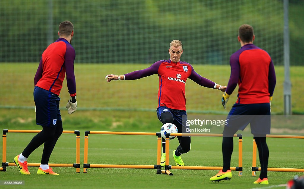 <a gi-track='captionPersonalityLinkClicked' href=/galleries/search?phrase=Joe+Hart&family=editorial&specificpeople=1295472 ng-click='$event.stopPropagation()'>Joe Hart</a> of England in action during an England training session on May 30, 2016 in London, England.