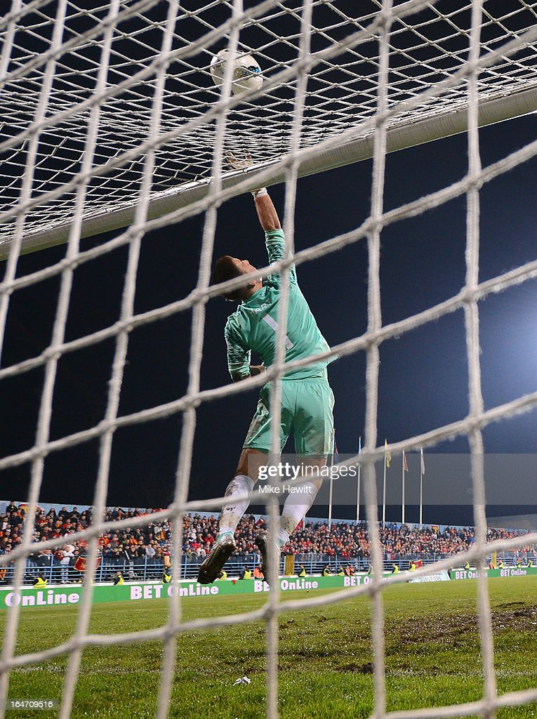 Joe Hart of England in action during the FIFA 2014 World Cup Group H Qualifier between Montenegro and England at City Stadium on March 26, 2013 in Podgorica, Montenegro.