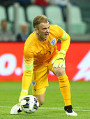 Joe Hart of England in action during the international friendly match between Italy and England at the Juventus Arena on March 31 2015 in Turin Italy