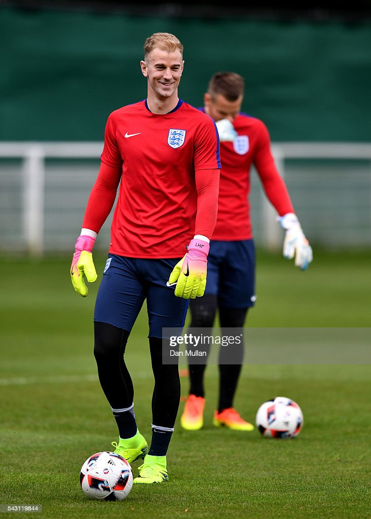 <a gi-track='captionPersonalityLinkClicked' href=/galleries/search?phrase=Joe+Hart&family=editorial&specificpeople=1295472 ng-click='$event.stopPropagation()'>Joe Hart</a> of England looks on during a training session ahead of the UEFA Euro 2016 match against Iceland at Stade du Bourgognes on June 26, 2016 in Chantilly, France.