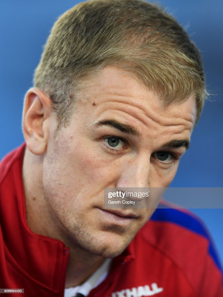 Joe Hart of England looks on during an England media session at St Georges Park on October 2, 2017 in Burton-upon-Trent, England. England are due to play Slovenia and Lithuania in upcoming World Cup qualifiers.