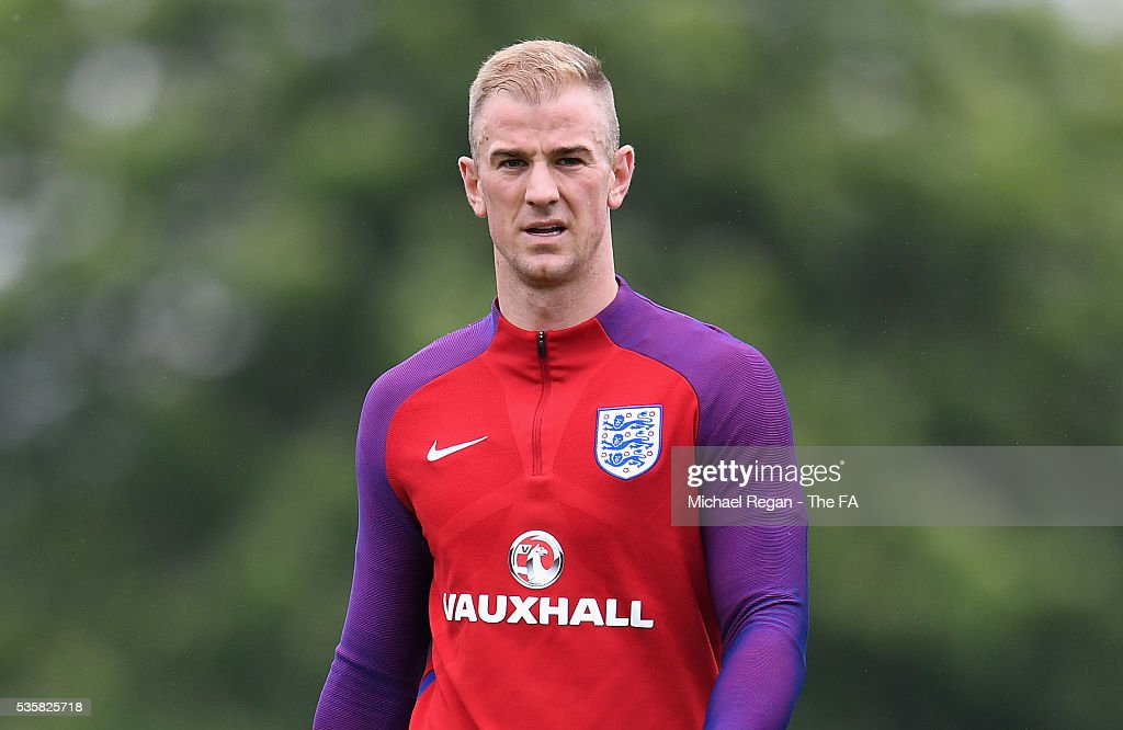 <a gi-track='captionPersonalityLinkClicked' href=/galleries/search?phrase=Joe+Hart&family=editorial&specificpeople=1295472 ng-click='$event.stopPropagation()'>Joe Hart</a> of England looks on during an England training session at London Colney on May 30, 2016, near St Albans, England.