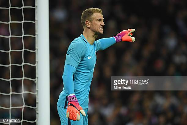 Joe Hart of England organises his defence during the international friendly match between England and Spain at Wembley Stadium on November 15 2016 in...