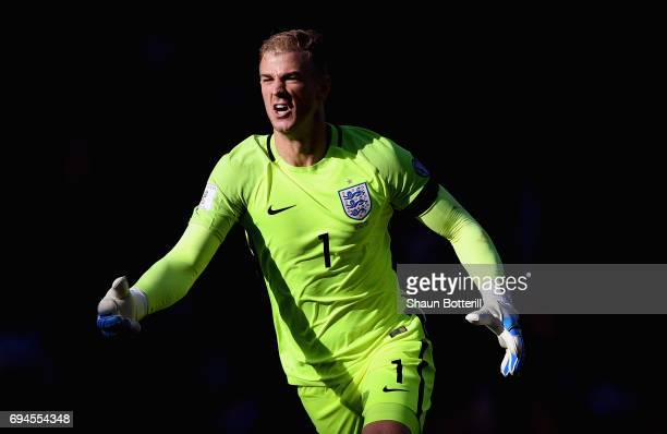 Joe Hart of England reacts during the FIFA 2018 World Cup Qualifier between Scotland and England at Hampden Park National Stadium on June 10 2017 in...