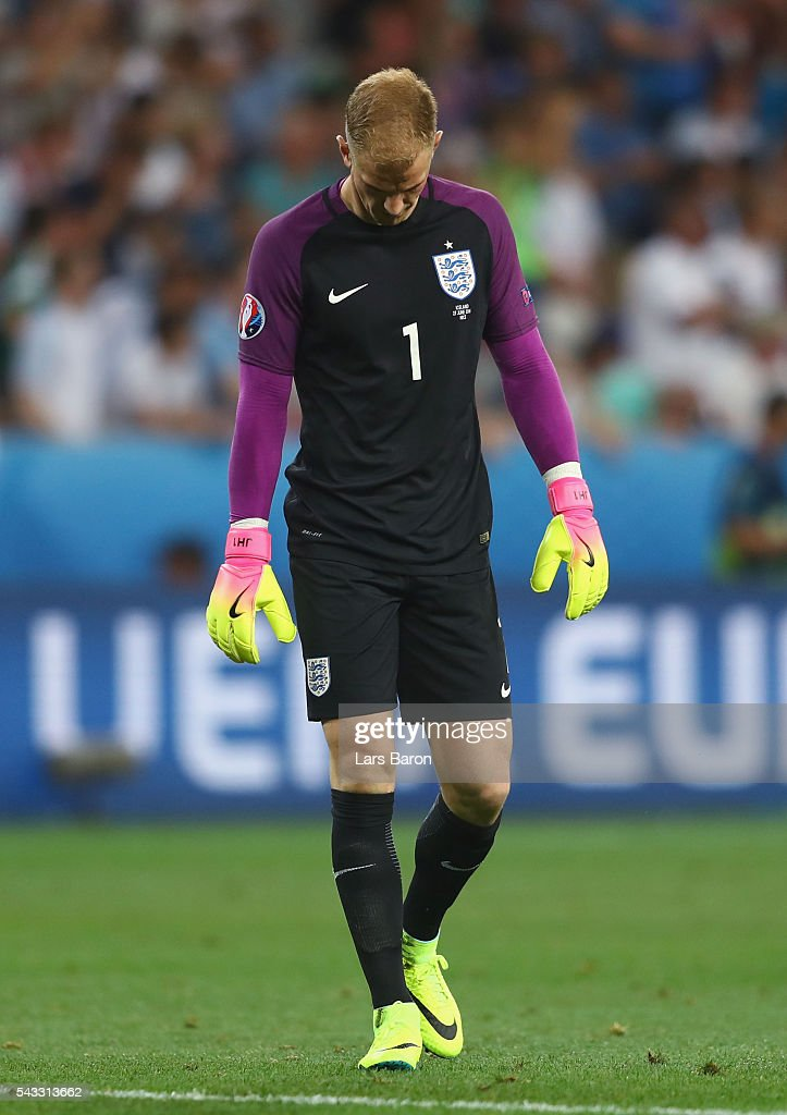 <a gi-track='captionPersonalityLinkClicked' href=/galleries/search?phrase=Joe+Hart&family=editorial&specificpeople=1295472 ng-click='$event.stopPropagation()'>Joe Hart</a> of England reacts during the UEFA EURO 2016 round of 16 match between England and Iceland at Allianz Riviera Stadium on June 27, 2016 in Nice, France.