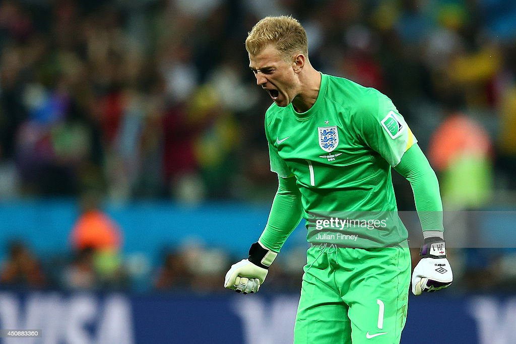 Joe Hart of England reacts to his team's goal during the 2014 FIFA World Cup Brazil Group D match between Uruguay and England at Arena de Sao Paulo on June 19, 2014 in Sao Paulo, Brazil.