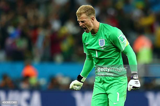 Joe Hart of England reacts to his team's goal during the 2014 FIFA World Cup Brazil Group D match between Uruguay and England at Arena de Sao Paulo...