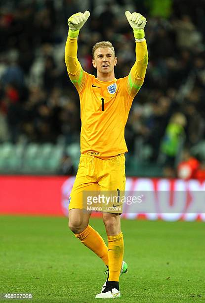Joe Hart of England salutes the fans at the end of the international friendly match beteween Italy and England on March 31 2015 in Turin Italy