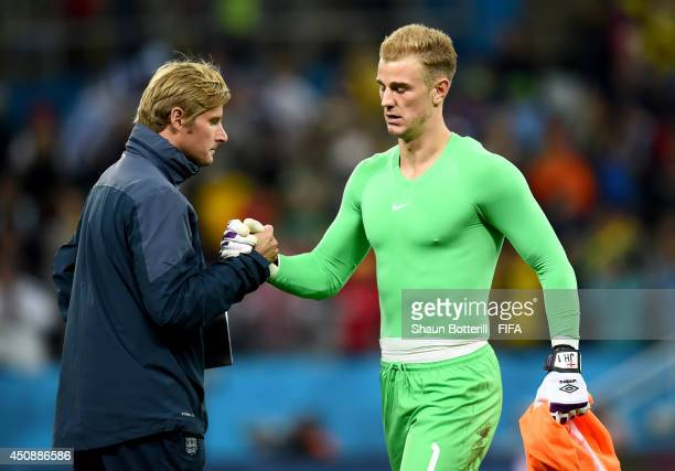 Joe Hart of England shakes hands with a team staff after 21 defeat in the 2014 FIFA World Cup Brazil Group D match between Uruguay and England at...