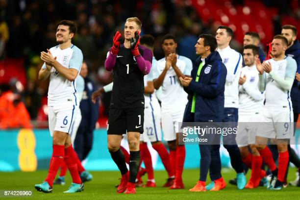 Joe Hart of England shows appreciation to the fans after the international friendly match between England and Brazil at Wembley Stadium on November...