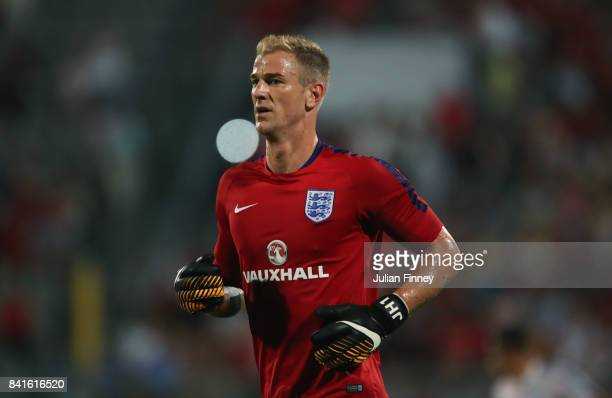 Joe Hart of England warms up prior to the FIFA 2018 World Cup Qualifier between Malta and England at Ta'Qali National Stadium on September 1 2017 in...