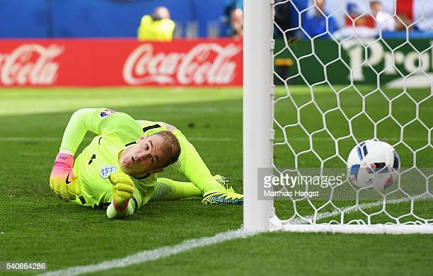 Joe Hart of England watches the ball as Gareth Bale of Wales scores his team's first goal during the UEFA EURO 2016 Group B match between England and...