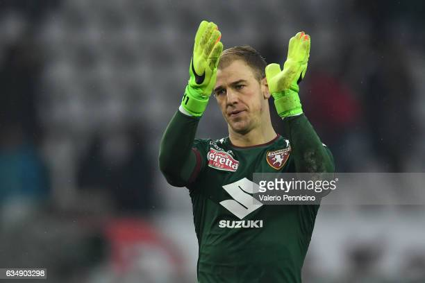 Joe Hart of FC Torino celebrates victory at the end of the Serie A match between FC Torino and Pescara Calcio at Stadio Olimpico di Torino on...