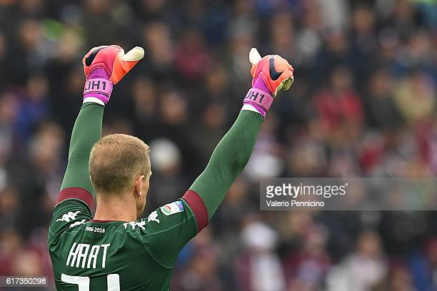 Joe Hart of FC Torino gestures during the Serie A match between FC Torino and SS Lazio at Stadio Olimpico di Torino on October 23 2016 in Turin Italy
