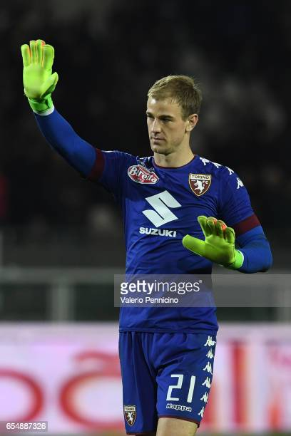 Joe Hart of FC Torino salutes the fans at the end of the Serie A match between FC Torino and FC Internazionale at Stadio Olimpico di Torino on March...