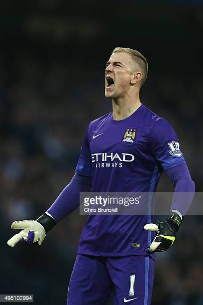 Joe Hart of Manchester City celeberate his team's first goal by Nicolas Otamendi during the Barclays Premier League match between Manchester City and...