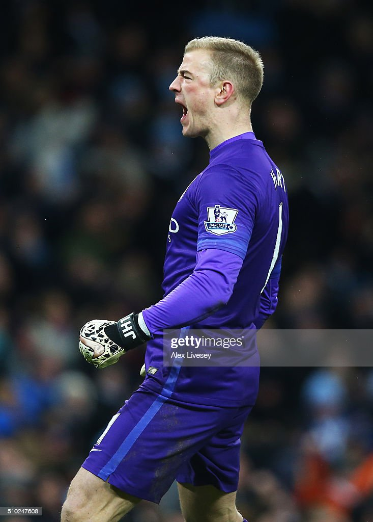 <a gi-track='captionPersonalityLinkClicked' href=/galleries/search?phrase=Joe+Hart&family=editorial&specificpeople=1295472 ng-click='$event.stopPropagation()'>Joe Hart</a> of Manchester City celebrates during the Barclays Premier League match between Manchester City and Tottenham Hotspur at Etihad Stadium on February 14, 2016 in Manchester, England.
