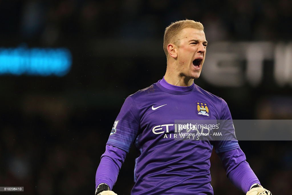 <a gi-track='captionPersonalityLinkClicked' href=/galleries/search?phrase=Joe+Hart&family=editorial&specificpeople=1295472 ng-click='$event.stopPropagation()'>Joe Hart</a> of Manchester City celebrates the equalising goal to make it 1-1 during the Barclays Premier League match between Manchester City and Tottenham Hotspur at the Etihad Stadium Bloomfield Road on February 14, 2016 in Manchester, England.