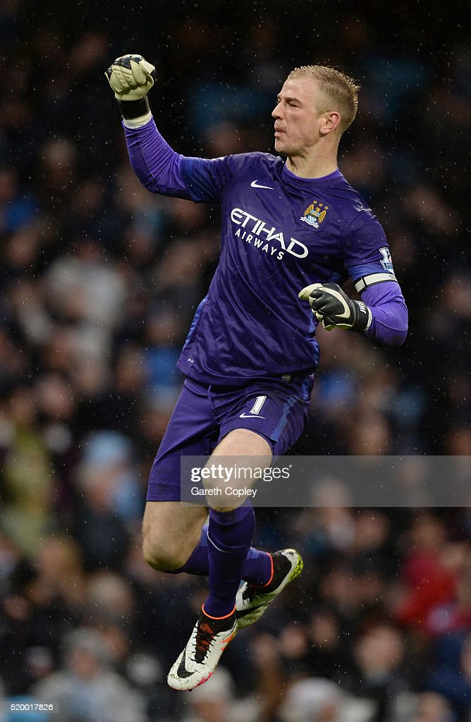 Joe Hart of Manchester City celebrates the goal scored by Samir Nasri of Manchester City during the Barclays Premier League match between Manchester City and West Bromwich Albion at the Etihad Stadium on April 9, 2016 in Manchester, England.