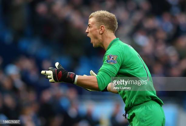 Joe Hart of Manchester City celebrates the winning goal during the Barclays Premier League match between Manchester City and Tottenham Hotspur at the...