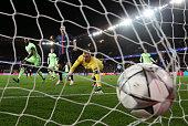 Joe Hart of Manchester City dives in vain as Adrien Rabiot of Paris SaintGermain scores his team's second goal during the UEFA Champions League...