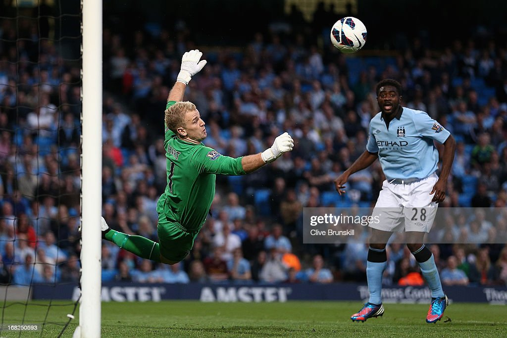 <a gi-track='captionPersonalityLinkClicked' href=/galleries/search?phrase=Joe+Hart&family=editorial&specificpeople=1295472 ng-click='$event.stopPropagation()'>Joe Hart</a> of Manchester City dives to make a save during the Barclays Premier League match between Manchester City and West Bromwich Albion at the Etihad Stadium on May 07, 2013 in Manchester, England.