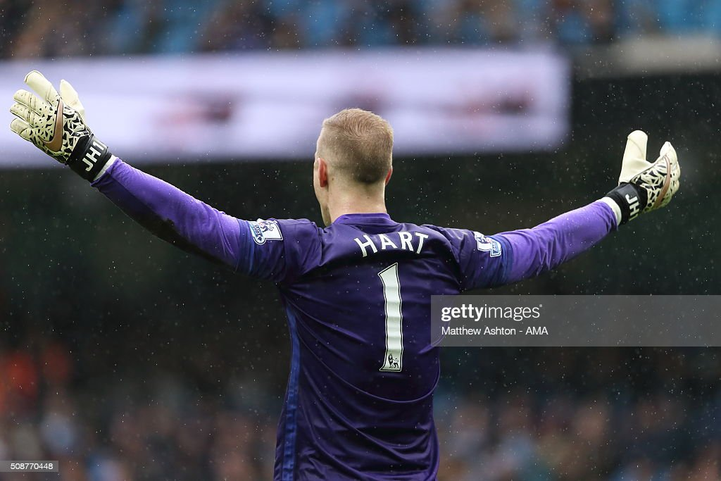 <a gi-track='captionPersonalityLinkClicked' href=/galleries/search?phrase=Joe+Hart&family=editorial&specificpeople=1295472 ng-click='$event.stopPropagation()'>Joe Hart</a> of Manchester City during the Barclays Premier League match between Manchester City and Leicester City at the Etihad Stadium on February 06, 2016 in Manchester, England.