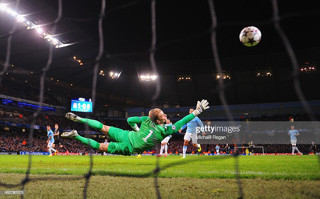 <a gi-track='captionPersonalityLinkClicked' href=/galleries/search?phrase=Joe+Hart&family=editorial&specificpeople=1295472 ng-click='$event.stopPropagation()'>Joe Hart</a> of Manchester City fails to stop a shot by Tomas Horava of Plzen during the UEFA Champions League Group D match between Manchester City and FC Viktoria Plzen at Etihad Stadium on November 27, 2013 in Manchester, England.