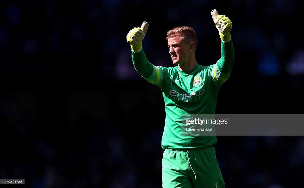 Joe Hart of Manchester City gives the thumbs up after the Barclays Premier League match between Manchester City and West Ham United at Etihad Stadium on April 19, 2015 in Manchester, England.