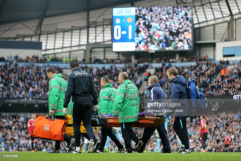 Joe Hart of Manchester City is stretchered off during the Barclays Premier League match between Manchester City and Manchester United at the Etihad Stadium on March 20, 2016 in Manchester, England.