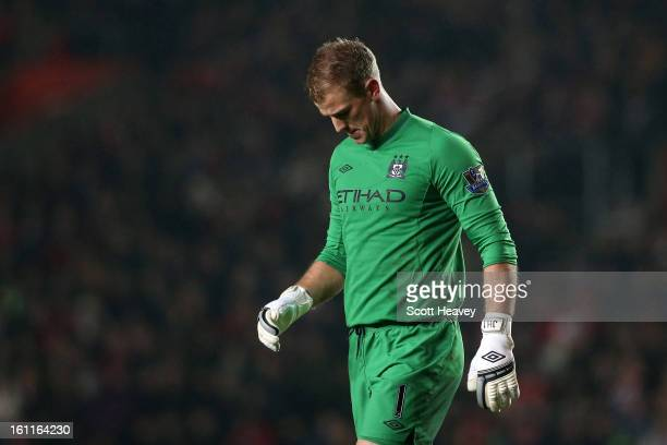 Joe Hart of Manchester City looks dejected after Man City conceded their second goal during the Barclays Premier League match between Southampton and...