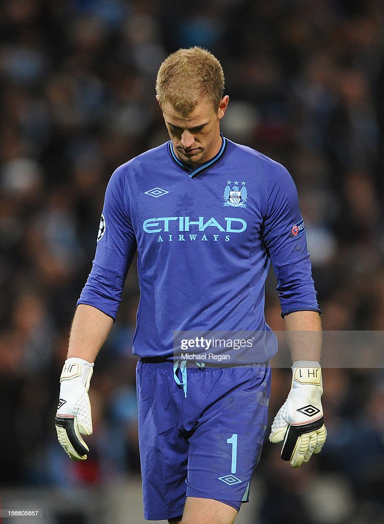 Joe Hart of Manchester City looks dejected during the UEFA Champions League Group D match between Manchester City FC and Real Madrid CF at the Etihad Stadium on November 21, 2012 in Manchester, England.