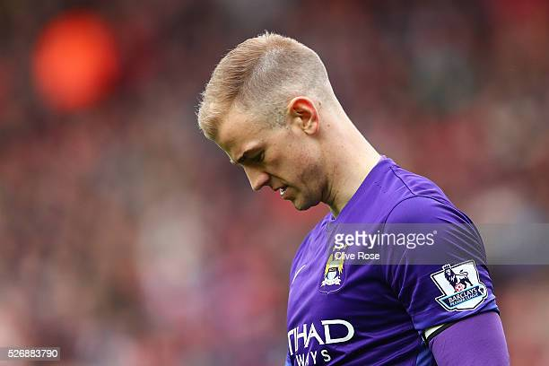 Joe Hart of Manchester City looks despondent during the Barclays Premier League match between Southampton and Manchester City at St Mary's Stadium on...