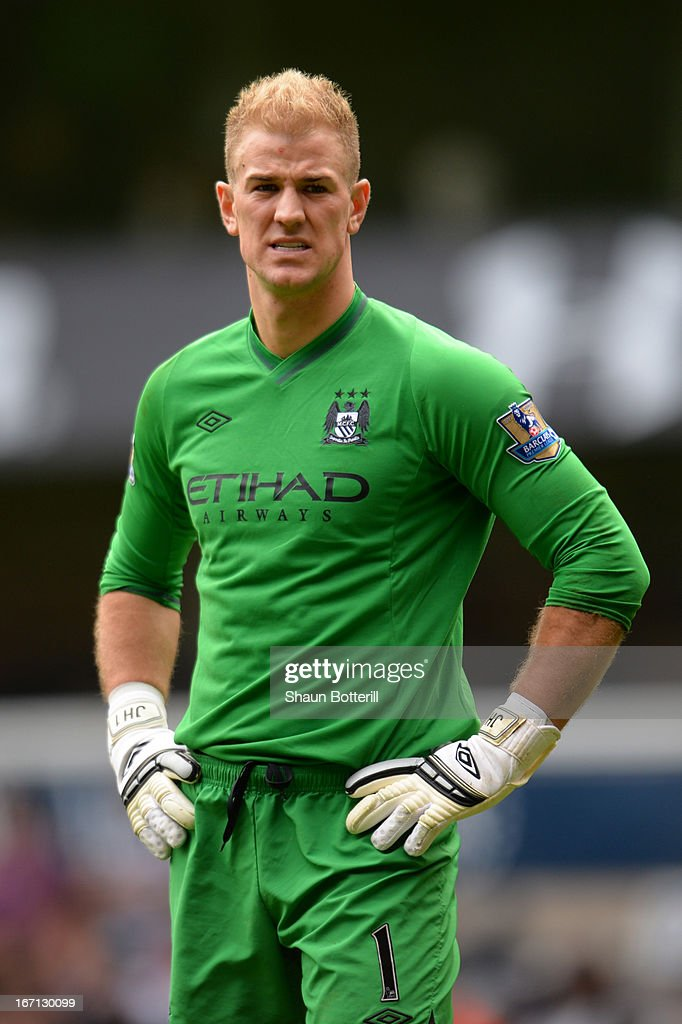 <a gi-track='captionPersonalityLinkClicked' href=/galleries/search?phrase=Joe+Hart&family=editorial&specificpeople=1295472 ng-click='$event.stopPropagation()'>Joe Hart</a> of Manchester City looks on after during the Barclays Premier League match between Tottenham Hotspur and Manchester City at White Hart Lane on April 21, 2013 in London, England.