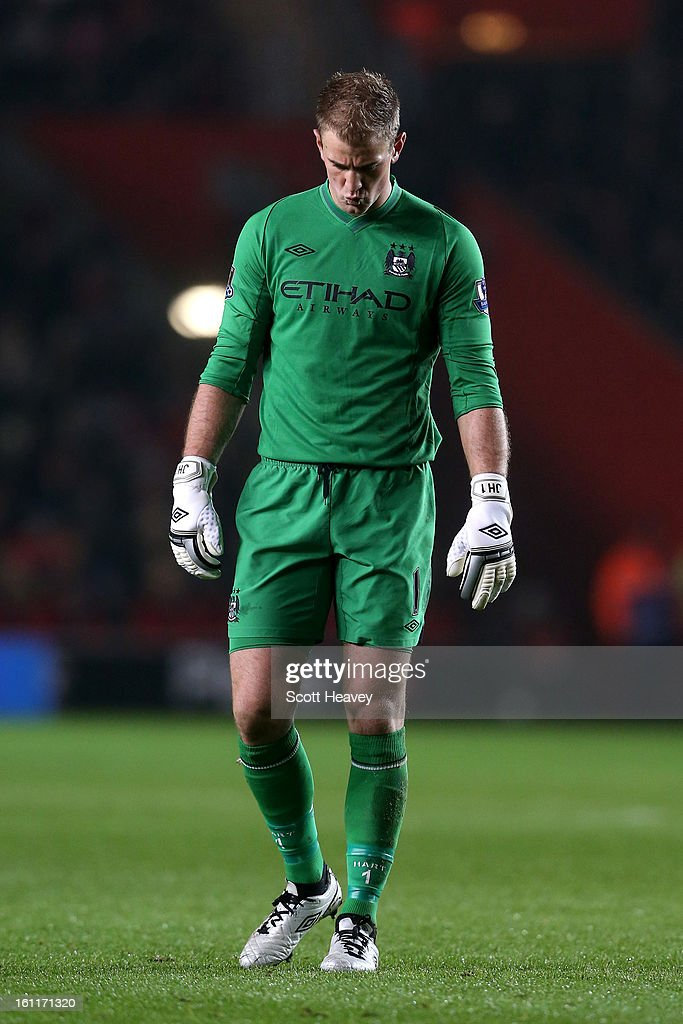 <a gi-track='captionPersonalityLinkClicked' href=/galleries/search?phrase=Joe+Hart&family=editorial&specificpeople=1295472 ng-click='$event.stopPropagation()'>Joe Hart</a> of Manchester City looks on during the Barclays Premier League match between Southampton and Manchester City at St Mary's Stadium on February 9, 2013 in Southampton, England.