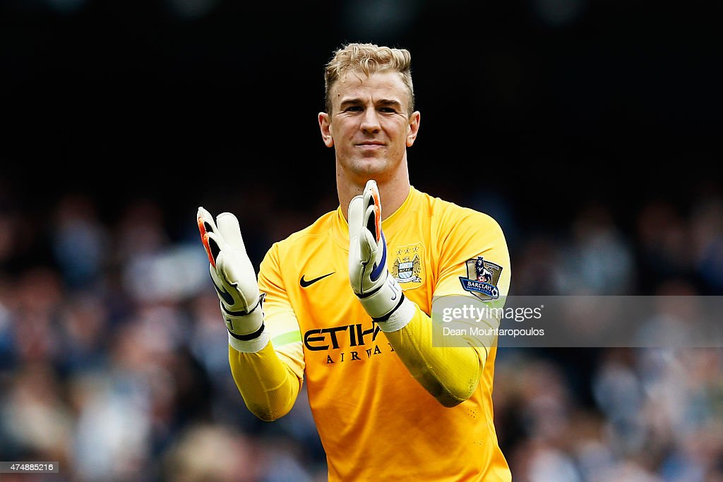 Joe Hart of Manchester City looks on during the Barclays Premier League match between Manchester City and Southampton held at Etihad Stadium on May 24, 2015 in Manchester, England.