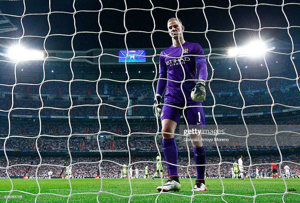 Joe Hart of Manchester City looks on during the UEFA Champions League semi final, second leg match between Real Madrid and Manchester City FC at Estadio Santiago Bernabeu on May 4, 2016 in Madrid, Spain.
