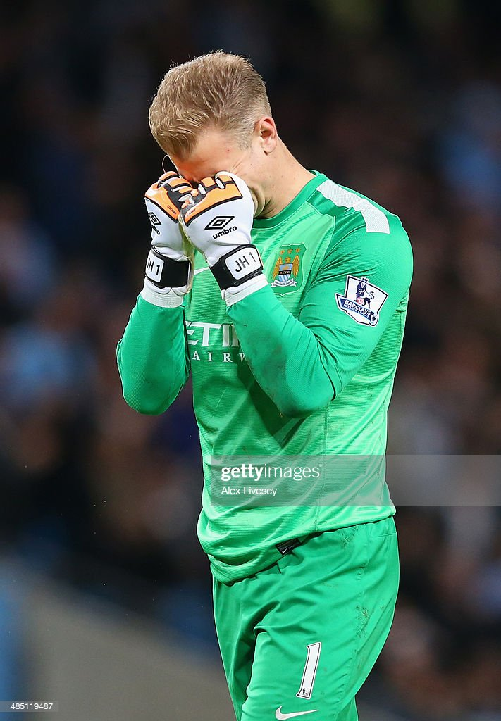 Joe Hart of Manchester City reacts during the Barclays Premier League match between Manchester City and Sunderland at Etihad Stadium on April 16, 2014 in Manchester, England.