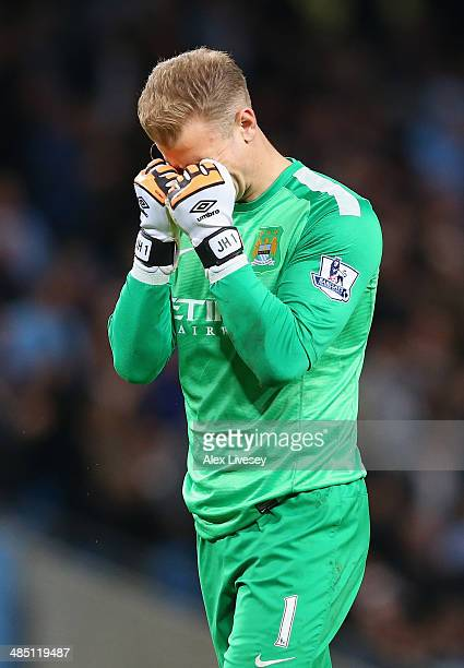 Joe Hart of Manchester City reacts during the Barclays Premier League match between Manchester City and Sunderland at Etihad Stadium on April 16 2014...