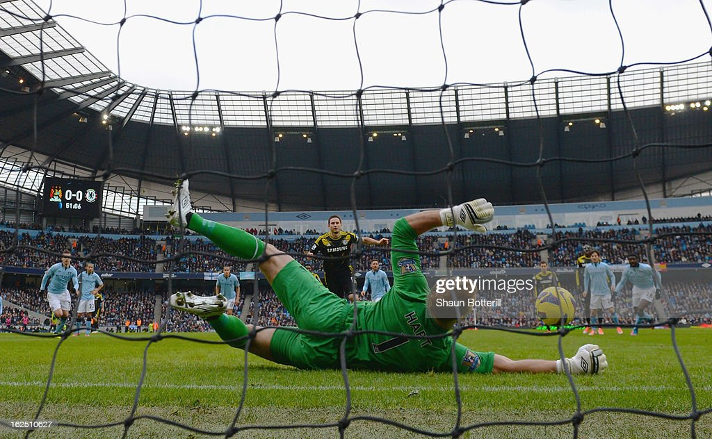 <a gi-track='captionPersonalityLinkClicked' href=/galleries/search?phrase=Joe+Hart&family=editorial&specificpeople=1295472 ng-click='$event.stopPropagation()'>Joe Hart</a> of Manchester City saves a penalty from <a gi-track='captionPersonalityLinkClicked' href=/galleries/search?phrase=Frank+Lampard+-+N%C3%A9+en+1978&family=editorial&specificpeople=11497645 ng-click='$event.stopPropagation()'>Frank Lampard</a> of Chelsea penalty during the Barclays Premier League match between Manchester City and Chelsea at Etihad Stadium on February 24, 2013 in Manchester, England.