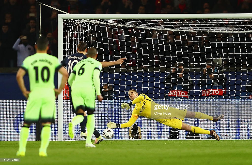 Joe Hart of Manchester City saves the penalty by Zlatan Ibrahimovic of Paris Saint-Germain during the UEFA Champions League Quarter Final First Leg match between Paris Saint-Germain and Manchester City at Parc des Princes on April 6, 2016 in Paris, France.