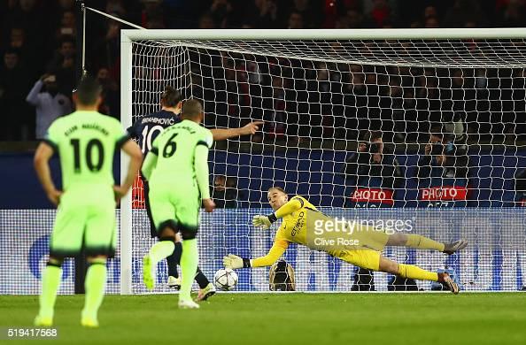Joe Hart of Manchester City saves the penalty by Zlatan Ibrahimovic of Paris SaintGermain during the UEFA Champions League Quarter Final First Leg...
