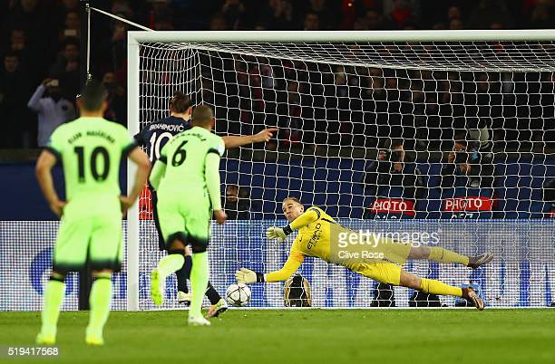 Joe Hart of Manchester City saves the penalty by Zlatan Ibrahimovic of Paris SaintGermain during the UEFA Champions League Quarter Final First Leg...