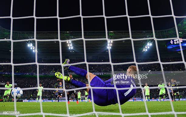 Joe Hart of Manchester City saves the penalty from Raffael of Borussia Monchengladbach during the UEFA Champions League Group D match between VfL...