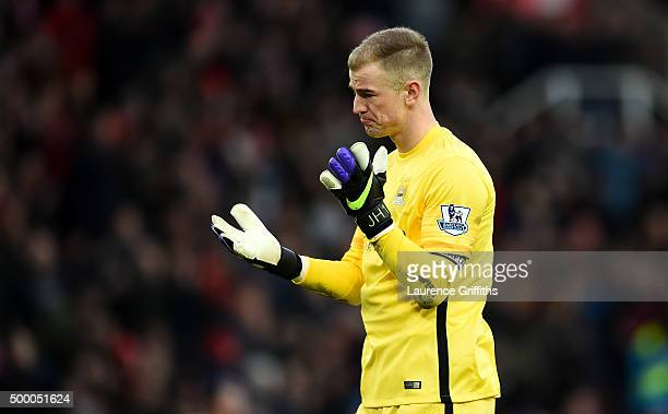 Joe Hart of Manchester City shows his dejection after the Barclays Premier League match between Stoke City and Manchester City at Britannia Stadium...