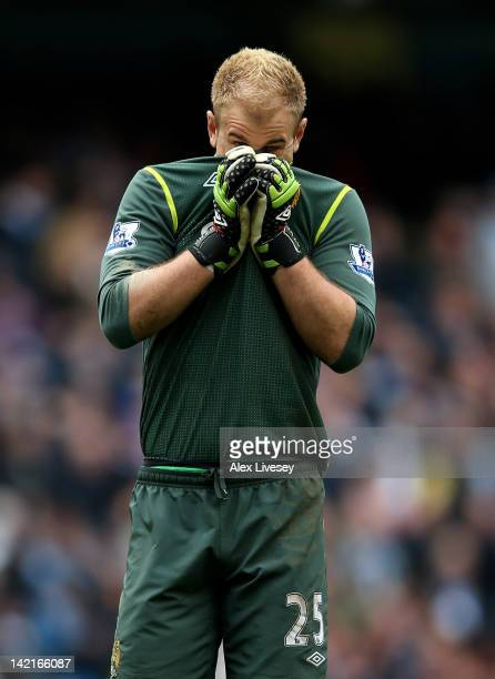 Joe Hart of Manchester City shows his dejection during the Barclays Premier League match between Manchester City and Sunderland at the Etihad Stadium...