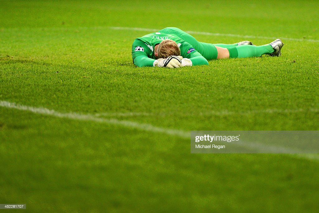 <a gi-track='captionPersonalityLinkClicked' href=/galleries/search?phrase=Joe+Hart&family=editorial&specificpeople=1295472 ng-click='$event.stopPropagation()'>Joe Hart</a> of Manchester City shows his frustration after the goal scored by Tomas Horava of Plzen during the UEFA Champions League Group D match between Manchester City and FC Viktoria Plzen at Etihad Stadium on November 27, 2013 in Manchester, England.