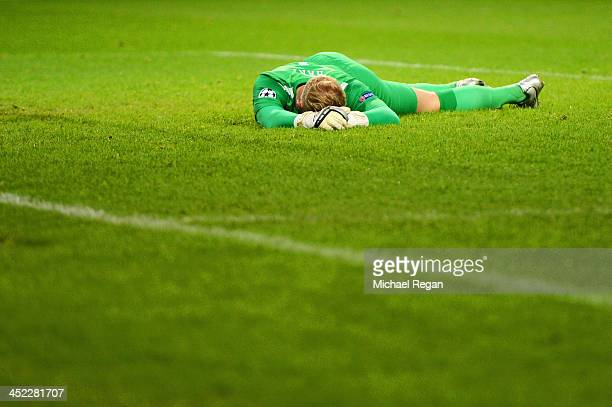 Joe Hart of Manchester City shows his frustration after the goal scored by Tomas Horava of Plzen during the UEFA Champions League Group D match...